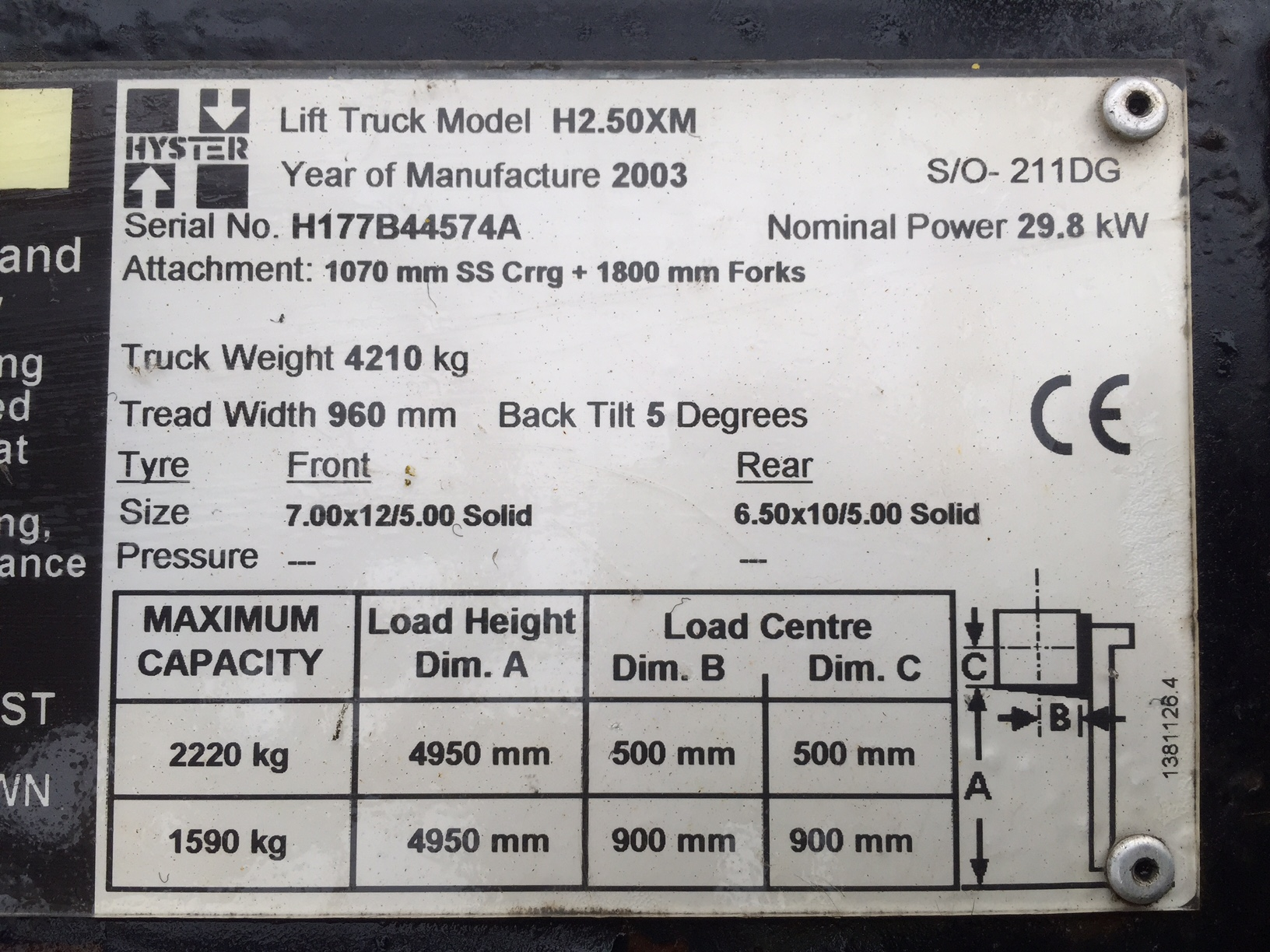 2003 Hyster 2.50XM Forklift (2.5 Ton)